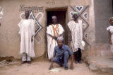 Sarkin Gini, Maikano on the left, [illegible] on the right, Aminu seated